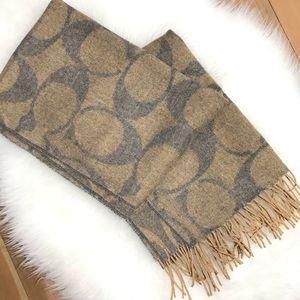 Coach Logo Reversible Wool Silk Cashmere Scarf